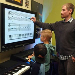 Teacher shows students music theory